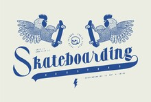 Skateboarding Roosters Vintage Typography T-shirt Print.