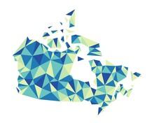Canada Vector Polygon Colorful Map