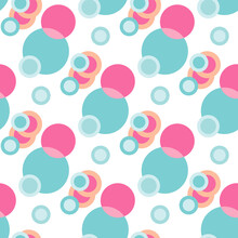 Bubbles Blue And Pink Pattern