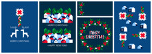 Merry Christmas And Happy New Year Set. Geometric, Modern, Minimalist Style. Corporate Holiday Cards, Invitations, Backgrounds, Greeting, Posters, Covers, Print. Sketch Vector Illustration.