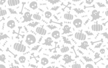 Seamless Halloween Pattern With Scull Bat Ghost Pumpkin Bone Candies White And Black