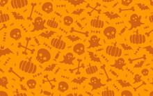 Seamless Halloween Pattern With Scull Bat Ghost Pumpkin Bone Candies Orange And Yellow