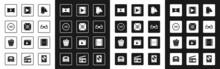 Set Camera Vintage Film Roll Cartridge, Movie Spotlight, 3D Word, Online Play Video, Cinema Glasses, Play Video, And Popcorn Box Icon. Vector