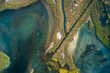 Vertical Aerial View Of The Salt Pans Of Albinia Tuscany