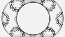 White Color Greeting Flyer With Black Abstract Ornament