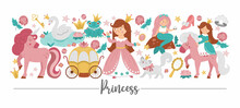 Vector Horizontal Border Set With Cute Fantasy Princess, Unicorn And Fairytale Elements. Medieval Fairy Tale Card Template Design With Cute Magic Characters. Funny Magic Storybook Border .
