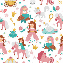 Fairy Tale Princess Seamless Pattern. Repeat Background With Fantasy Girl, Carriage, Mermaid, Unicorn Frog Prince, Swan. Medieval Fairytale Maid Digital Paper. Girlish Cartoon Magic Texture.