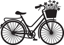 Retro Bicycle With Flowers Black And White