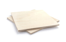 Plywood Boards Isolated At White Background. Stack Of Plywood Pieces