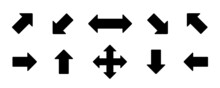 Set Arrow Icon. Collection Different Arrows Sign Of The Right, Left, Up, Down Direction. Black Vector Abstract Elements Isolated On White Background