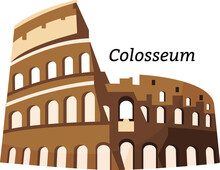 Vector Illistration - Colosseum. Italian. Famous Landmark Of Italy. Amphitheatrum Flavium. Rome.