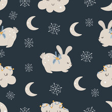 Christmas Pattern With Rabbit Scandinavian Hand Drawn Seamless Pattern. New Year, Christmas, Holidays Texture For Print, Paper, Design, Fabric, Background. Vector Illustration