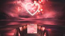 A Cloud Of Love. Night Fantasy Landscape. Futuristic Abstract Landscape, Sky, Purple, Pink Neon, Beautiful Pink Sunset, Heart Shape, Magic. Cloud Over Water, Heart Bokeh Light. 3D