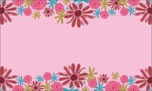 Pink Pom Pom And Daisy Flowers Background