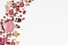 Autumn Composition With Dry Roses And Candles. Autumn Background In Pastel Color With Dried Rose Flowers And Leaves. Flat Lay, Top View, Copy Space