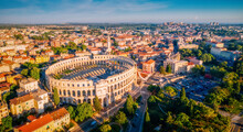 Majestic View At Famous European City Of Pula And Arena Of Roman Time.