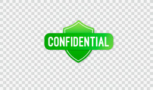 Confidential Green Stamp Vector, Isolated On Transparent Background. Flat Icon. Vector Illustration