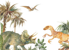 Watercolor Dinosaurs Illustration. Artwork With Prehistorical Animals: Velociraptor, Triceratops, Pterodactyl. Tropical Wall Decor Design