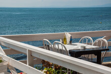 Wooden Terrace In A Restaurant With Sea View