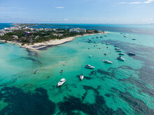 Yachts Parked In Playa Norte Beach The Most Popular Beach In Mexico. Located At Isla Mujeres Near Cancun