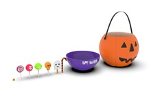 A Set Of Halloween Sweets On The Background 3d-rendering