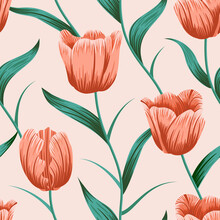 Tulip Flower Seamless Pattern With Leaves. Tropical Background