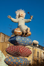 Girl On Pillows Street Sculpture