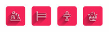 Set Line Oil Pump Or Pump Jack, National Russia Flag, Christian Cross And Sauna Bucket With Long Shadow. Red Square Button. Vector