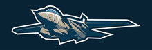 American Cold War Fighter Plane Vector Illustration. Simple Aircraft Logo, Military Equipment.