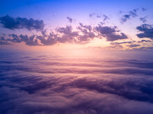 The Sky Above The Clouds Before Dawn. Wonderful Heavenly Landscape.