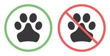 No Pets Allowed Sign. Forbidden Animal Footprint. Pet Zone Icon