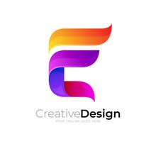 Symbol E Logo And Colorful Design Template