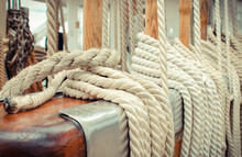 Thick Ropes On Sailboat. Part Of Yacht Concept