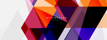 Color Triangles Composition, Geometric Abstract Background. Techno Or Business Concept, Pattern For Wallpaper, Banner, Background, Landing Page