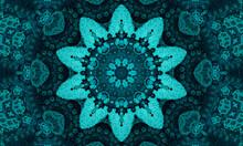 Jade Flower. Geometric Pillow. Seafoam Aztec Ikat Background. Olive Ethnic Seamless.