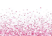 Purple Event Confetti Background. Rose Greeting Wallpaper. Red Heart Burst. Pink Honeymoon Illustration. Group Texture.