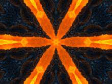 Orange Rays Stars On Black Retro Textured Pattern 70s. Abstract Unique Kaleidoscope Background. Beautiful Kaleidoscope Seamless Pattern. Seamless Kaleidoscope Texture.