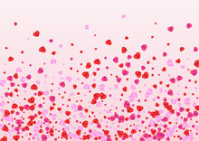 Lilac Heart Background Pink Vector. Art Illustration Confetti. Red Wallpaper Frame. Violet Heart Cute Texture. Purple Shape Pattern.