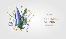 Merry Christmas And Happy New Year. Xmas Festive Background With Realistic 3d Objects, Blue And Gold Balls, Conical Christmas Tree. Levitation Falling Design Composition.