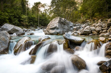 Silky River Flow At The Vallemaggia (Maggia Valley) In Ticino, Switzerland