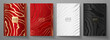 Modern elegant cover design set. Luxury fashionable background with line pattern in gold, black, red, silver color. Elite premium vector template for menu, brochure, flyer layout, presentation