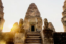 Old Ruins Of East Baray Temple With Golden Sunset In Angkor City, Cambodia