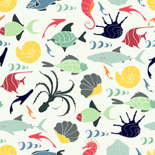 Cute Seamless Underwater Texture Design. Fishes, Shellfishes, Octopuses, Sea Horse. Hand Drawn Cartoon Style. Vector Illustration