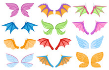 Cartoon Dragon Fairy Tail Dragon Fairy Birds Creatures Wings. Magical Legends Animals Or Creatures Flying Wing Vector Illustration Set. Fantasy Characters Wings