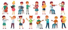 Children Orchestra Play Music. Child Playing Ukulele Guitar, Girl Sing Song And Play Drum. Kids Musicians With Music Instruments Vector Illustration Set