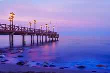 Beautiful Purple Skies At The Beach Next To The Pier Of Embarcadero, Marbella, South Of Spain