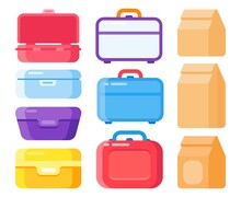 Lunch Container Set For Take Away Food. Snacks Packaging, Lunch Meal In Disposable Bags Or Boxes.