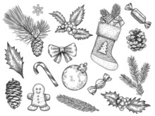 Sketch Decoration Xmas Set. Christmas And Happy New Year Symbols. Sock And Gift, Gingerbread, Holly Fir Branches, Pine Cone Vector Elements