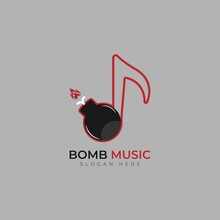 Vector Note And Bomb Logo Combination. Music And Detonate Symbol Or Icon