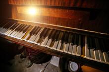 Old Abandoned Piano Keyboard. Close Up View